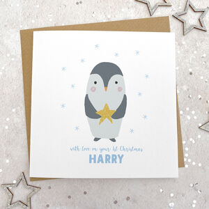 Glittery Penguin 1st Christmas Card