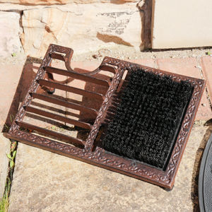 Free Standing Boot Brush And Shoe Scraper - garden