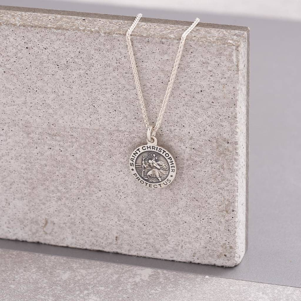 Silver Personalised St Christopher Necklace