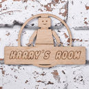 Personalised Building Block Man Door Sign