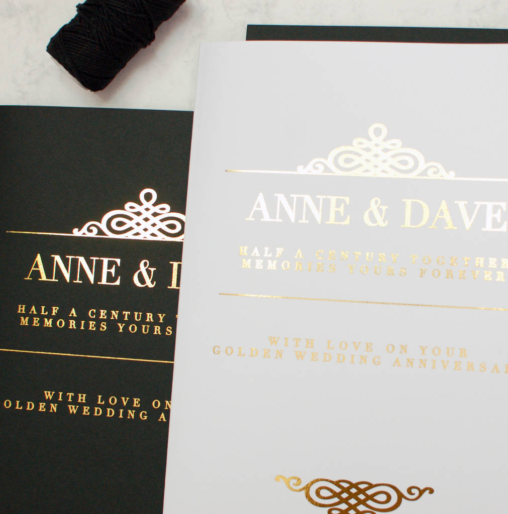 Black White Gold Personalised Luxury Wedding Card