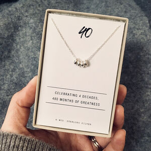 40th Birthday Silver Necklace
