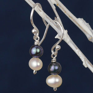 White And Peacock Pearl Drop Earrings