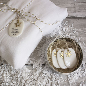 Handmade Porcelain Christmas Tags W Brass Detail - cards & wrap