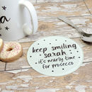 Personalised Keep Smiling Drink Glass Coaster Gift