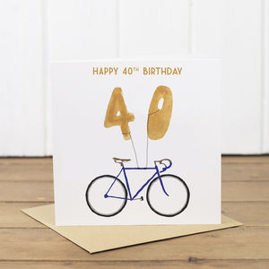 40th Bicycle Balloon Birthday Card - shop by category