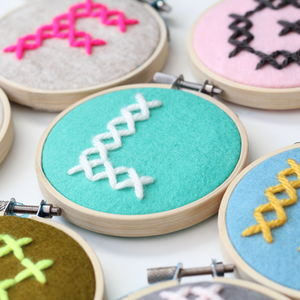 Personalised Initial Cross Stitch Hoop - hanging decorations