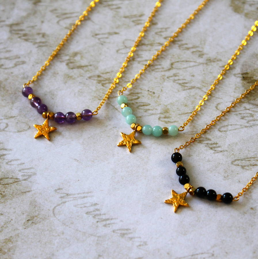 Semi Precious Stone Bar Necklace With Vermeil Gold Star