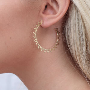 18ct Gold Large Cut Out Sun Hoop Earrings