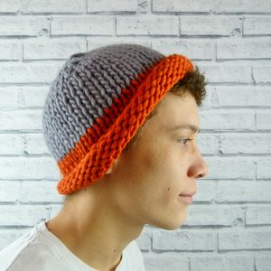 Mens Colour Block Beanie Hat