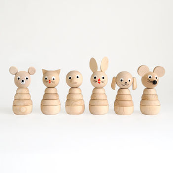 Set Of Six Natural Wooden Stacking Toys