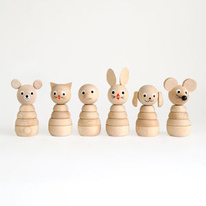 Set Of Six Natural Wooden Stacking Toys - best gifts for girls