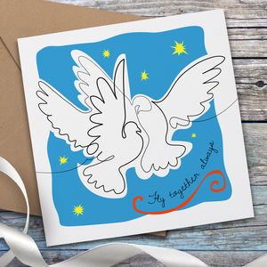 Matisse Inspired Two Doves Wedding Card - wedding cards