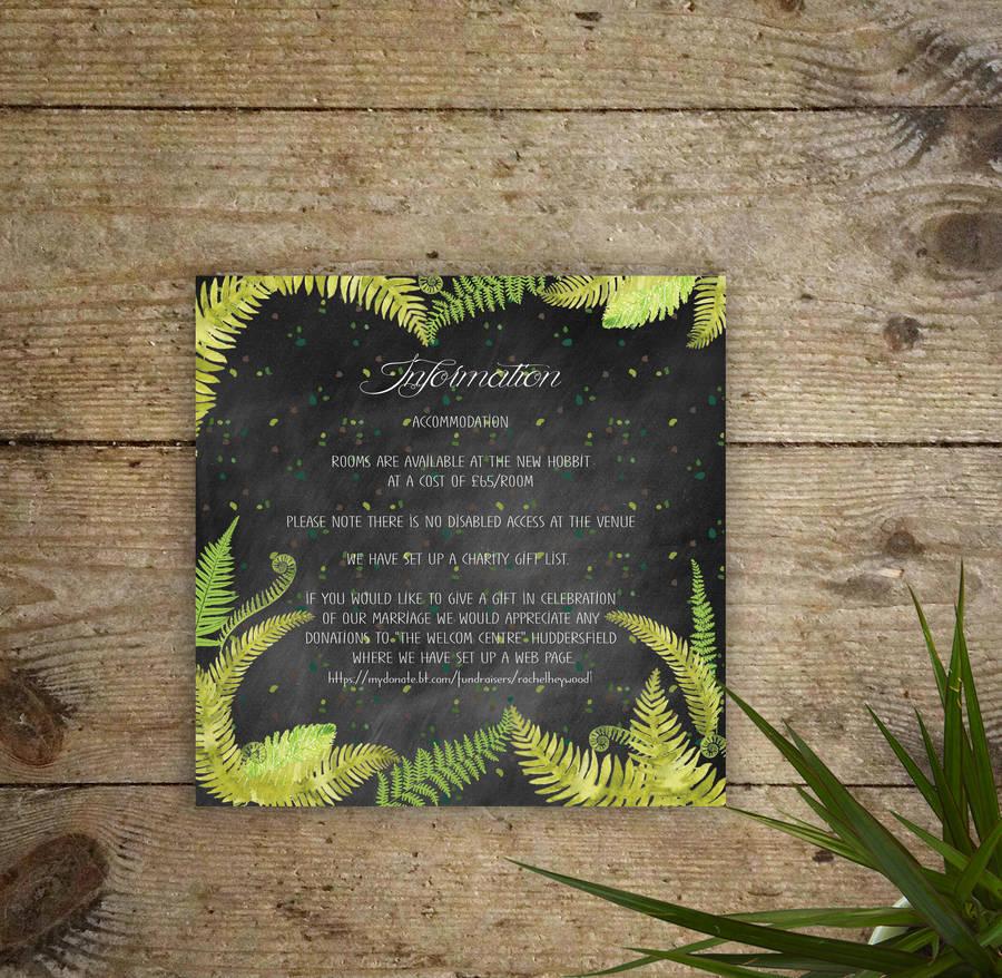 how to word evening wedding reception invitations%0A Chalkboard Ferns Wedding Invitations
