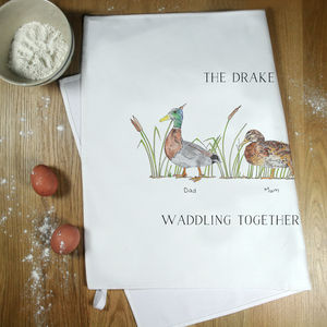 Personalised Duck Family Tea Towel - kitchen
