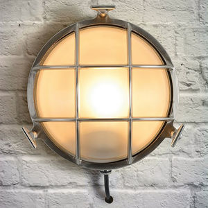 Industrial Circular Chrome Outdoor Wall Light - new in garden