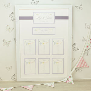 Bunting Framed Wedding Table Plan - table decorations