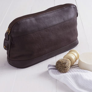 Personalised Men's Leather Washbag