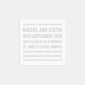 Isaac Personalised Wedding Invitation