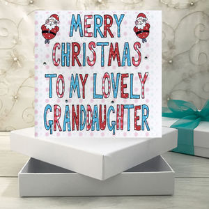 Personalised Granddaughter Christmas Book Card