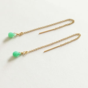 Gold Filled Chrysoprase Threader Earrings - earrings