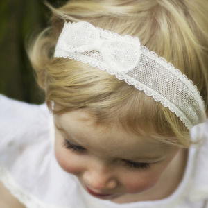 Marnie Spot Tulle Bow Christening, Flower Girl Headband - clothing
