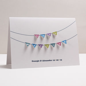 Personalised 'Just Married' Bunting Paper Cut Card - wedding cards & wrap