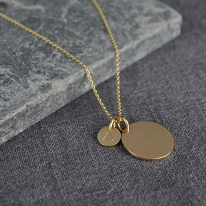 Solid Gold Double Disc Initial Necklace - gold