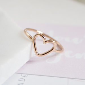 Handmade Solid Gold Open Heart Ring - rings