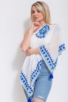 Embroidered Scarf White / Blue
