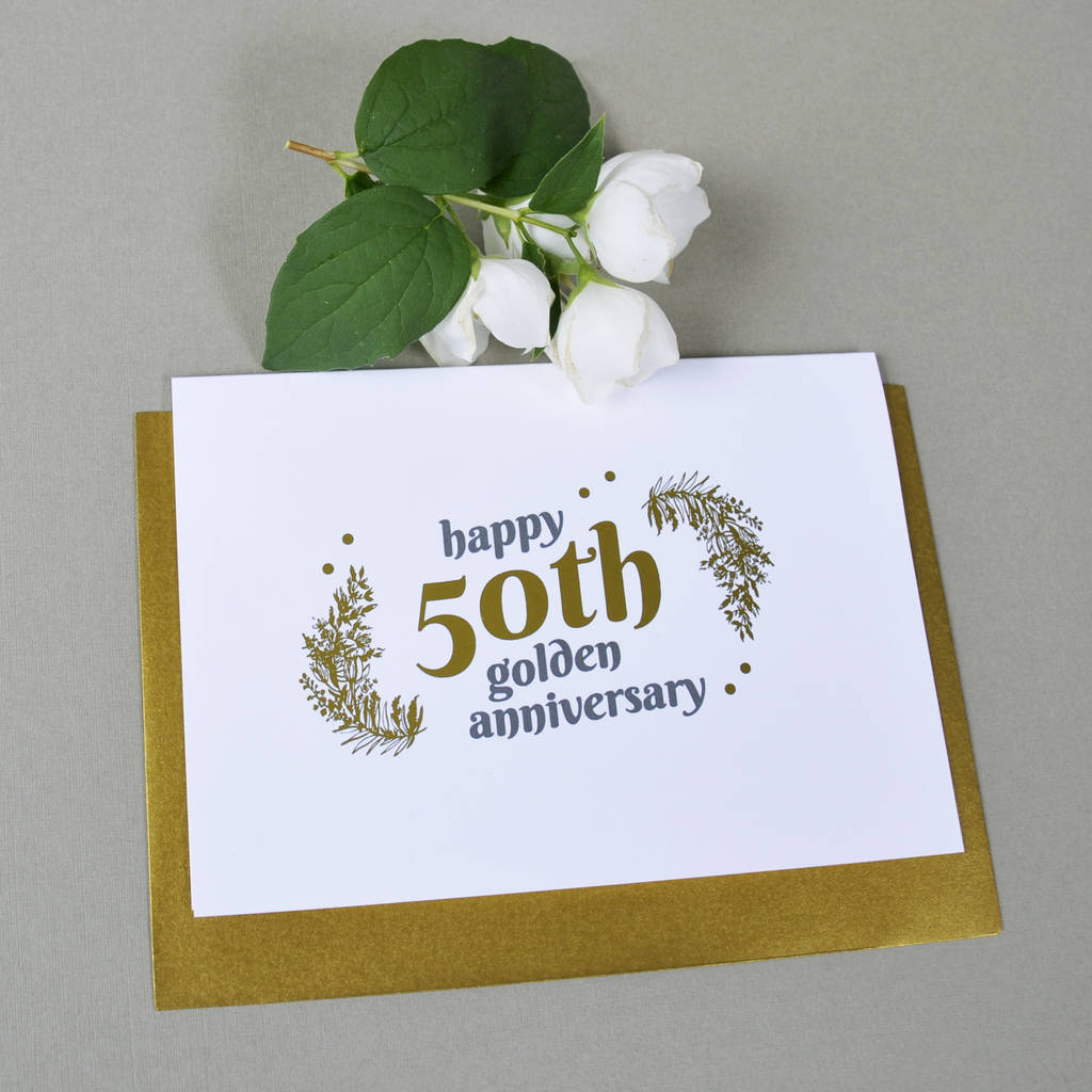 Personalised 50th Wedding Anniversary Gifts: Personalised With Gold 50th Wedding Anniversary Gift By