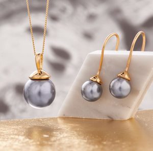 Pearl Necklace And Earring Set In Gold - birthday gifts