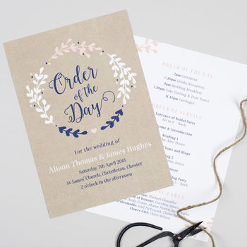 Hannah Wreath Order Of The Day Cards