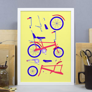 Red And Yellow Chopper Bicycle Print