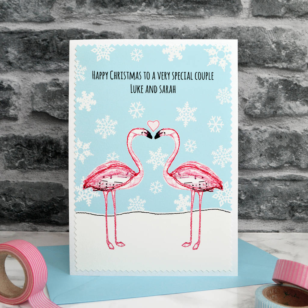 flamingos\' personalised couple christmas card by jenny arnott cards ...