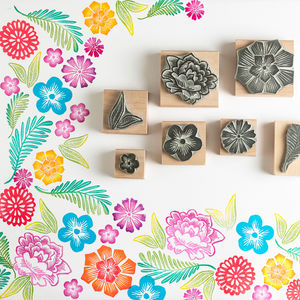 Mexican Flower Rubber Stamps - day of the dead