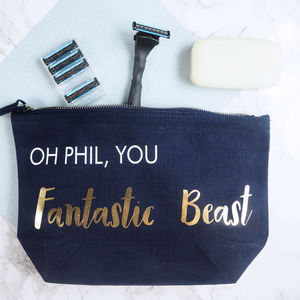'Personalised Fantastic Beast' Wash Bag
