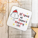 1st Xmas As A Mummy Personalised Wooden Coaster
