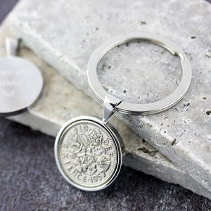 Sixpence 1957 60th Birthday Coin Keyring
