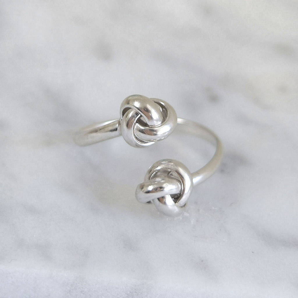 Sterling Silver Duo Love Knot Wrap Ring