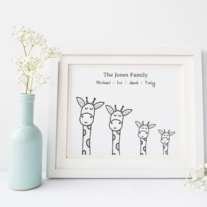 Personalised Family Print With Giraffes - nursery pictures & prints