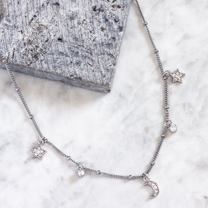 Maia. Moon And Star Fancy Chain Necklace