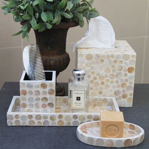 Shell Inlay Tissue Box And Matching Accessories - bathroom