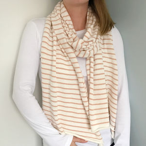 Ladies Striped Cotton Scarf - gifts for her