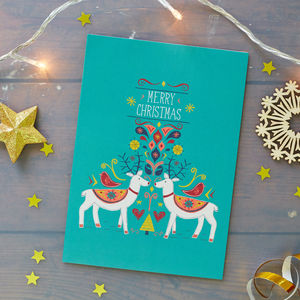 Reindeers Christmas Card Pack - cards & wrap