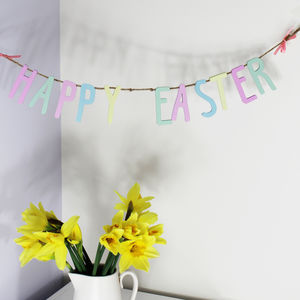 Wooden Happy Easter Bunting Garland - easter decorations