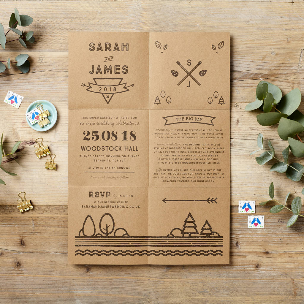 woodland foldout wedding invitation poster by doodlelove