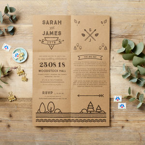 Woodland Foldout Wedding Invitation Poster - wedding stationery