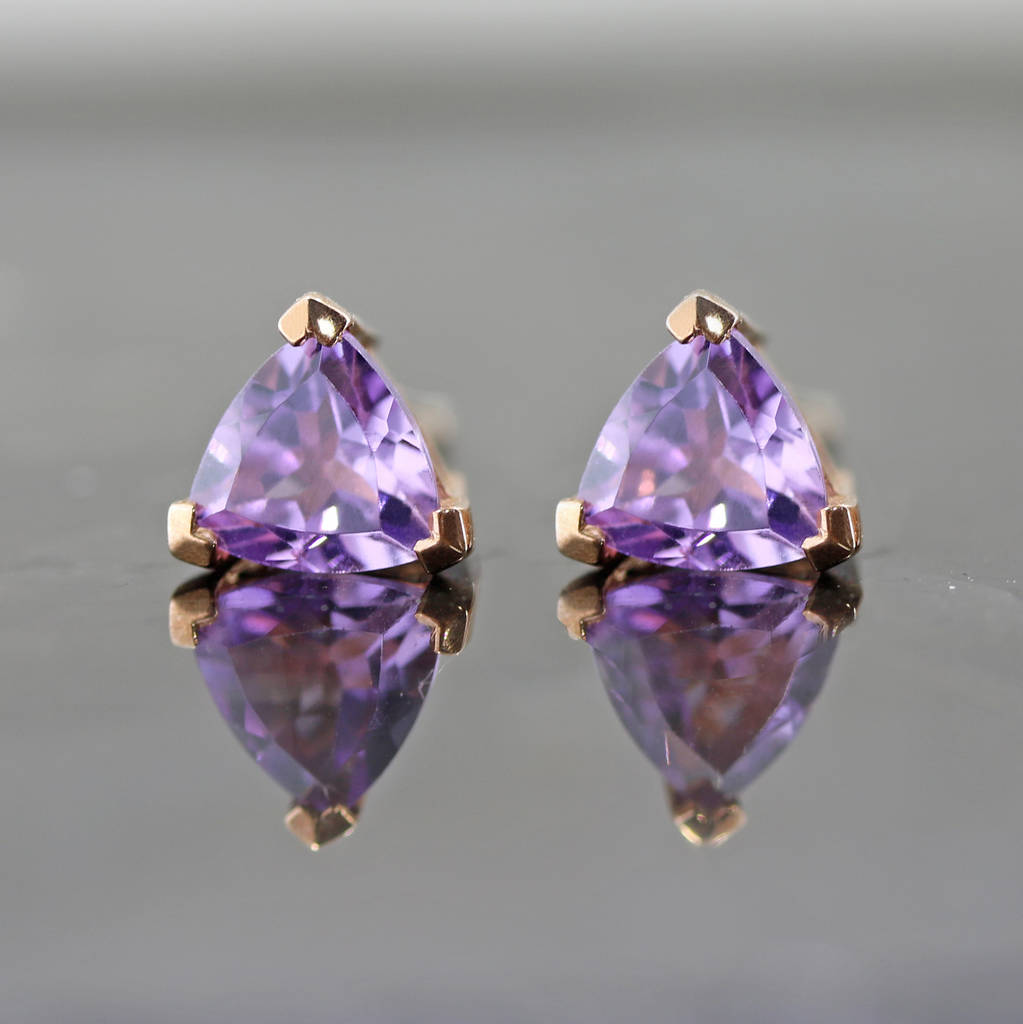 Amethyst Trillion Earrings