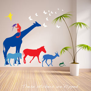 Nine Safari Animal Wall Stickers New Sizes - new lines added